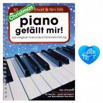 Piano gefällt mir Christmas mit bunter herzförmiger Notenklammer