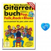 Peter Bursch's Gitarrenbuch Band 1, CD, Bonus-DVD mit herzförmiger Notenklammer