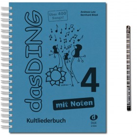 Das Ding Band 4 mit Noten und bunter herzförmiger Notenklammer