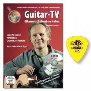 Guitar-TV: Gitarrenschule ohne Noten Reinhold Pomaska mit 2 DVDs und Dunlop Plektrum