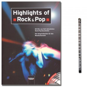 Highlights of Rock & Pop - Liederbuch mit Musik-Bleistift