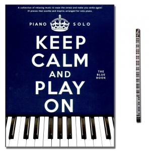 Keep calm and play on (blue Book) mit Musik-Bleistift