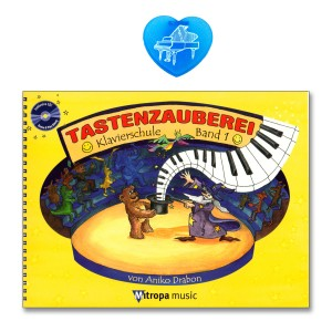 Tastenzauberei Band 1 mit CD bunter herzförmiger Notenklammer